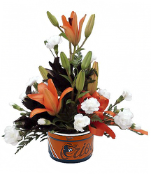DFF229 Orioles Soup bowl w/fresh flowers
