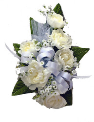 DP5 White Carnation Corsage