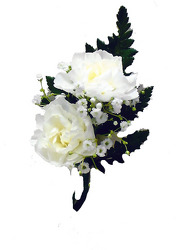 P6 Double White Mini Carnation Boutonniere