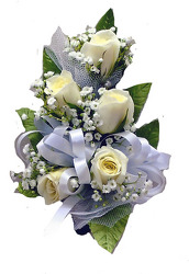 P1-5  Five White Sweetheart Rose Corsage