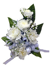 P5-5 Five Mini White Carnation Corsage