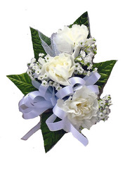 P5 Three White Mini Carnation Corsage