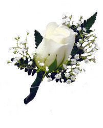 P4 Large White Rose Boutonniere