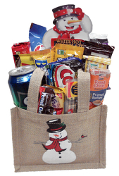 SNCK 286 Burlap Bag w/Snowman filled with Snack Foods