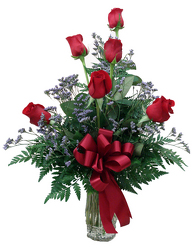 VR6  1/2 doz of Red Roses in Vase
