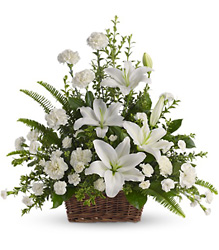 T228-1A Peaceful White Lilies Basket